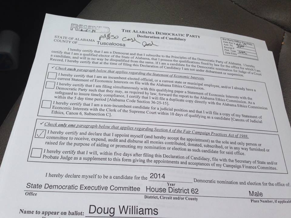 The paperwork that I filed on February 6th to run for the SDEC.