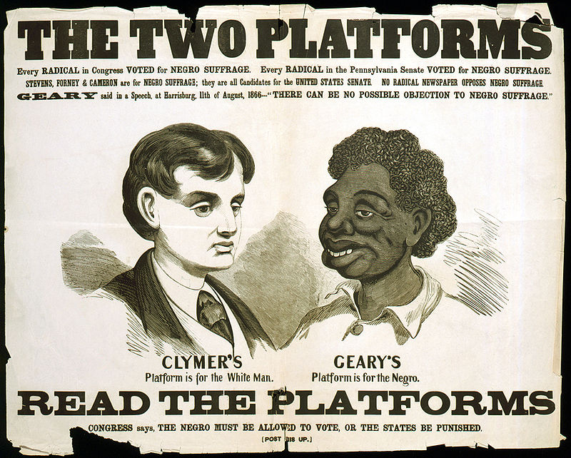 This poster was used by Democratic candidate Hiester Clymer in the 1866 Pennsylvania governor's race, which was won by former San Francisco mayor and Army brigadier general John W. Geary.